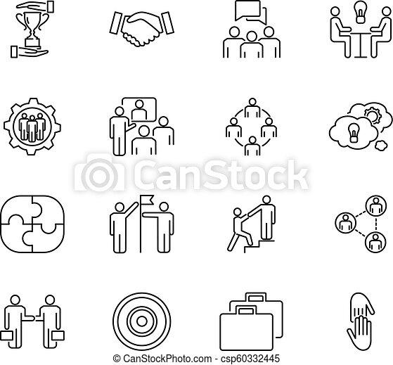 Equipo de colaboración vector de ilustración de vectores conjunto. Los iconos delineados con la cooperación de la gente, trabajando juntos, reuniéndose sobre estrategias para el éxito de los negocios. - csp60332445