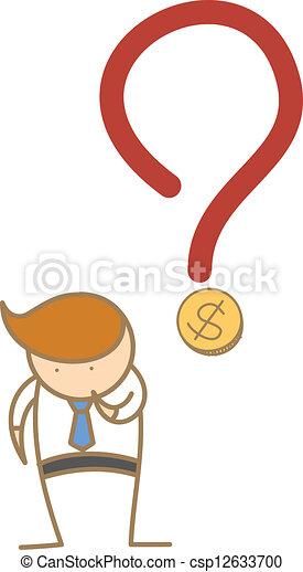 sobre, empresa / negocio, pensamiento, dinero, carácter, caricatura, hombre - csp12633700