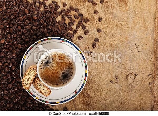 sobre, feijões, café, chícaras - csp6458888