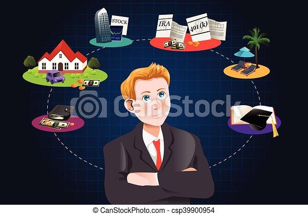 Un hombre pensando en futuros planes financieros - csp39900954