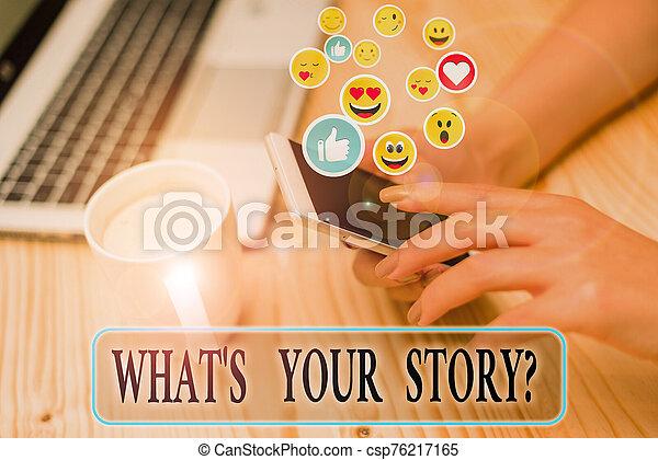 sobre, journey., empresa / negocio, escritura, alguien, poseer, preguntado, mi, ser, su, historia, nota, s, showcasing, question., foto, actuación, qué - csp76217165