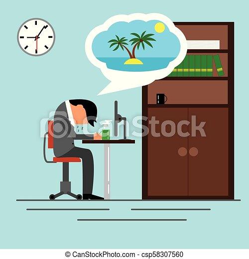 Un hombre de negocios cansado durmiendo en la oficina soñando con vacaciones - csp58307560