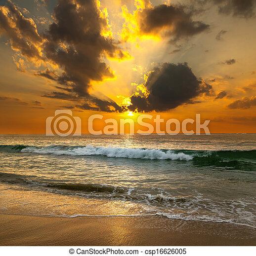 sobre, pôr do sol, mar - csp16626005