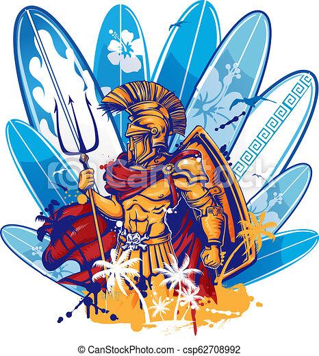 sobre, poseidon, surfboard, elementos - csp62708992