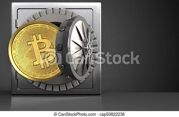 sobre, pretas, bitcoin, 3d - csp50822236