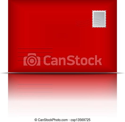Sobre rojo - csp13569725