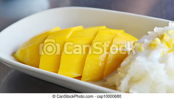 sobremesa, tailandês, arroz, pegajoso, manga - csp10000680
