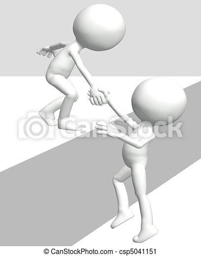 Ayudar a la persona levanta a un amigo 3D a subir - csp5041151