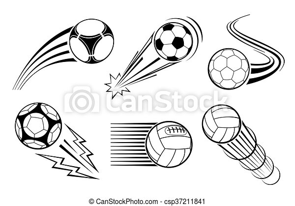 Soccer and football balls for labels emblems. Vector elements set - csp37211841