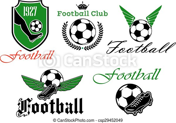 2f335589557 Soccer and football heraldic icons. Football or soccer club icons ...