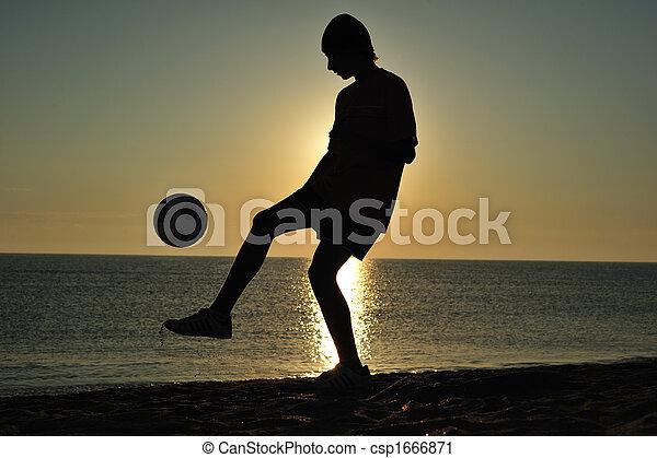 Soccer at sunset - csp1666871