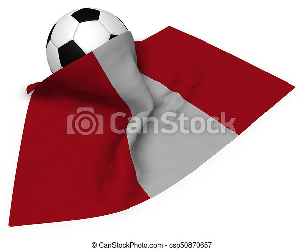 soccer ball and flag of peru - 3d rendering - csp50870657