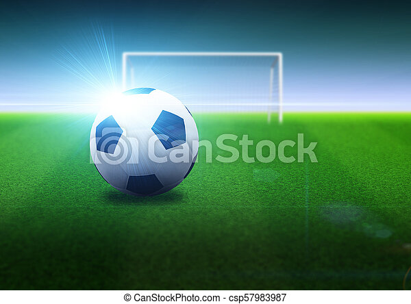 5403d54bc Soccer ball and goal on field. Football or soccer ball and goal on ...
