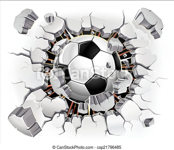 Soccer ball and Old Plaster wall - csp21796485