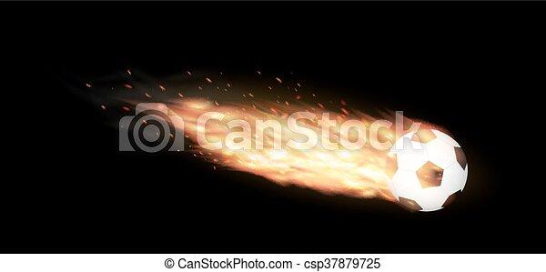 soccer ball burning - csp37879725