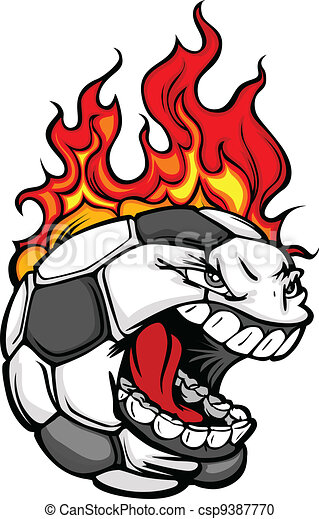 Soccer Ball Face with Flaming Hair Vector Image - csp9387770