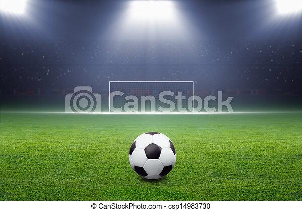 Soccer ball, goal, spotlight - csp14983730