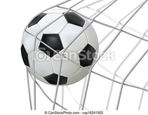 soccer ball hitting on net. - csp16241925