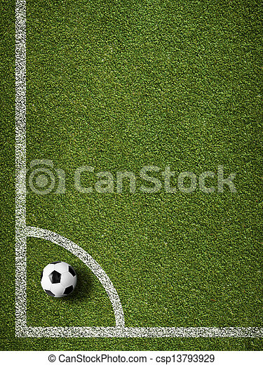 Soccer ball in corner kick position. Football field top view. - csp13793929