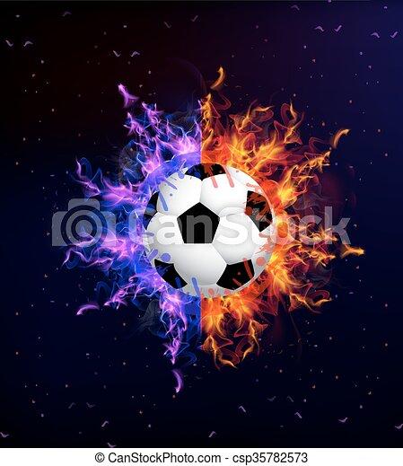 soccer ball in fire soccer ball on fire vector art illustration rh canstockphoto com soccer ball art clip soccer ball art project