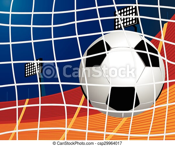 Soccer ball in goal - csp29964017
