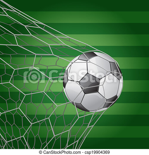 soccer field grass. Soccer Ball In Goal With Grass Field - Vector Illustration
