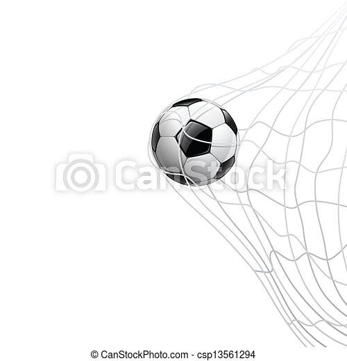 Soccer ball in net - csp13561294