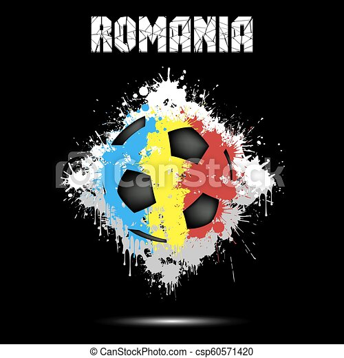 Soccer ball in the color of Romania - csp60571420