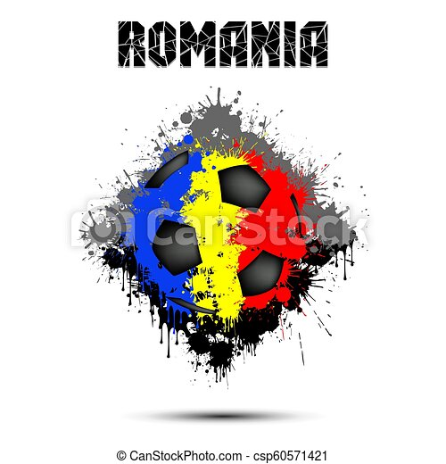 Soccer ball in the color of Romania - csp60571421