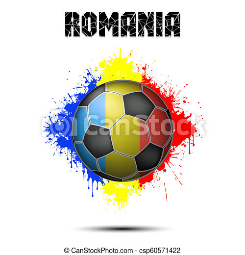 Soccer ball in the color of Romania - csp60571422