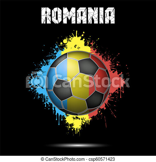 Soccer ball in the color of Romania - csp60571423