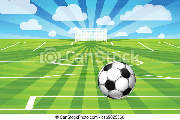 Soccer ball lying on the grass of the game field - csp9825360