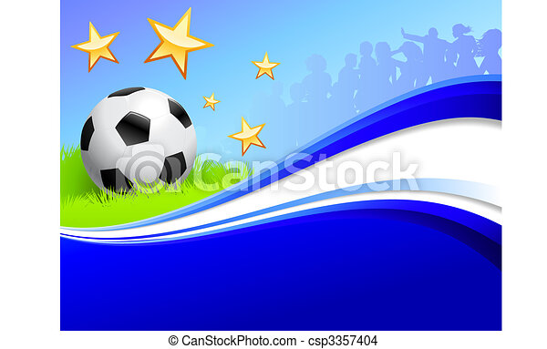 Soccer Ball on Abstract Blue Background - csp3357404
