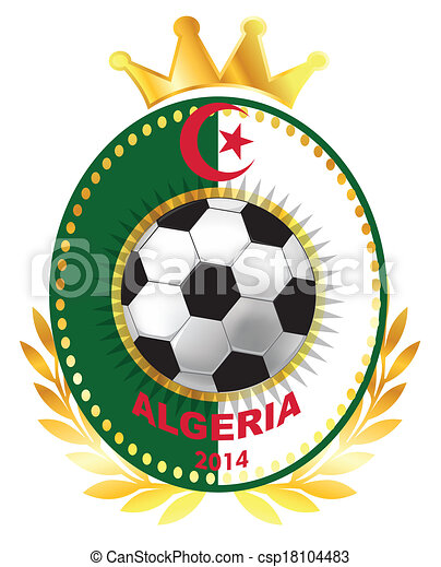 Soccer ball on Algerian flag - csp18104483