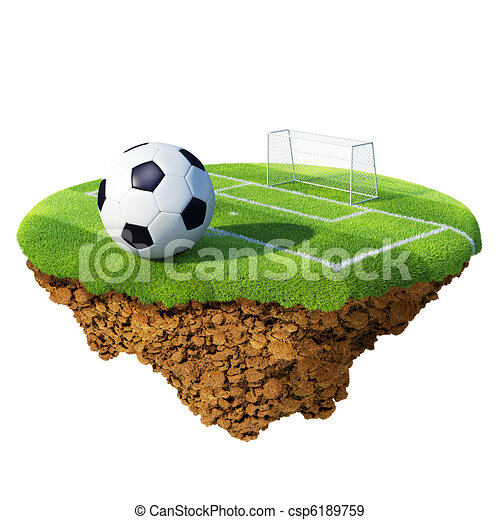 Soccer ball on field, penalty area and goal based on little planet. Concept for soccer championship, league, team design. Tiny island / planet collection. - csp6189759