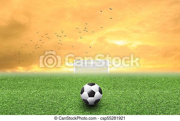 Soccer ball on grass sunset - csp55281921