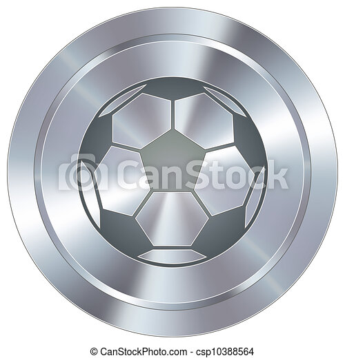 Soccer ball on industrial button - csp10388564