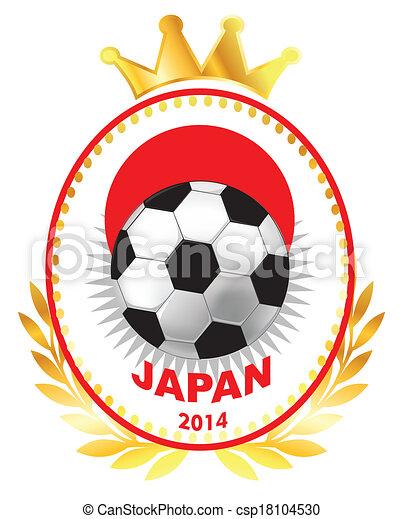 Soccer ball on Japan flag - csp18104530