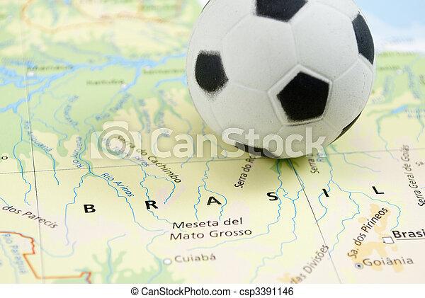 soccer ball on map - csp3391146