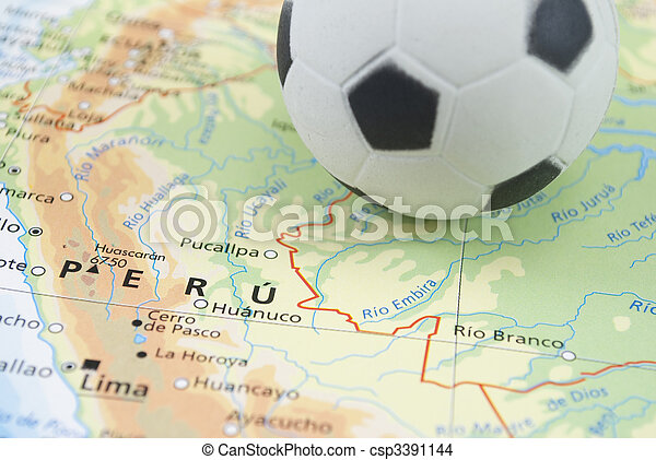 soccer ball on map - csp3391144