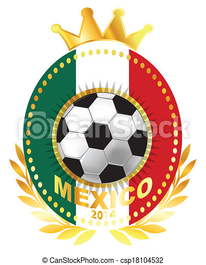 Soccer ball on Mexico flag - csp18104532
