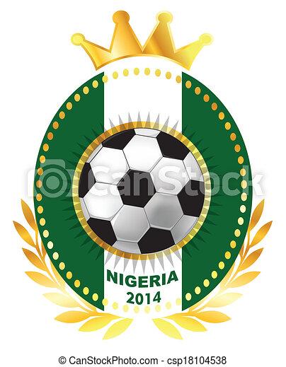 Soccer ball on Nigeria flag - csp18104538