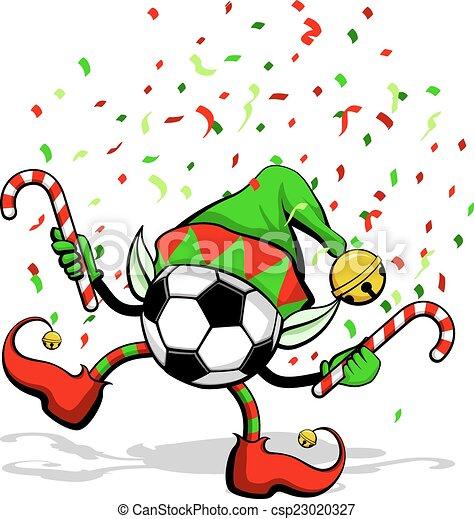 Soccer ball or Football Christmas Elf - csp23020327