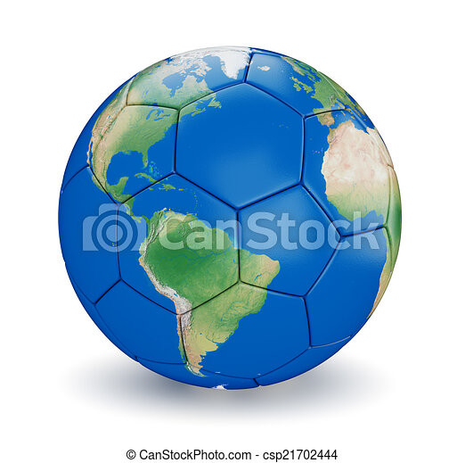 Soccer ball shaped earth world isolated on white background map soccer ball shaped earth csp21702444 gumiabroncs Images