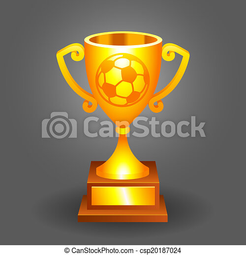 Soccer ball trophy gold cup bacground - csp20187024
