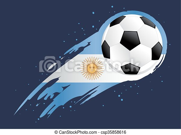 soccer ball with abstract argentina insignia background vector