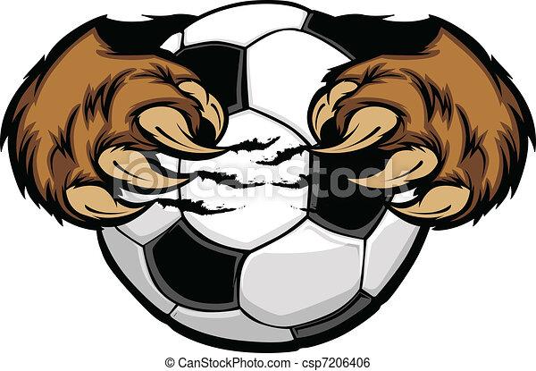 Soccer Ball With Bear Claws Vector  - csp7206406
