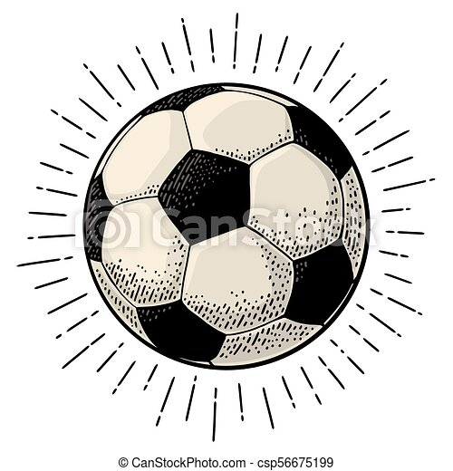 Soccer ball with ray  Engraving vintage vector black illustration