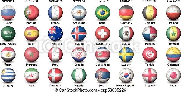 soccer balls flags countries final tournament  2018 football world cup - csp53005226