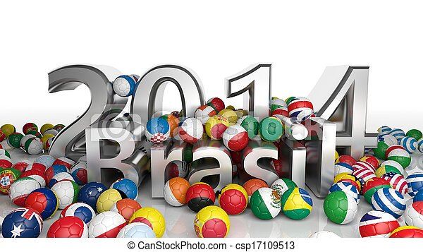 Soccer balls with various flags and 2014 Brasil 3D text isolated on white - csp17109513